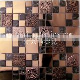 Metal and resin mix crystal glass mosaic kitchen backsplash bathroom wall tile