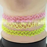 Fluorescent color stretch choker handmade fashion tattoo necklace
