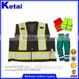Manufactory Supply Mesh Reflective Safety Black Vest Multi-Pocket