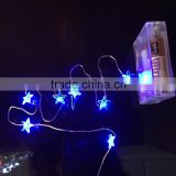 Hot !!!! blue star shape led copper wire string lighting