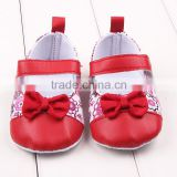 Cute baby girls christmas bownot flowers dress shoes wholesale red christmas toddler girl princess shoes