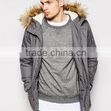 mens long coat with hood/ parka jackets with fur
