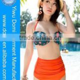 Domi new arrival sex xxl colorful moulded cups sexy bikini girls high waist swimwear retro high waist bikini