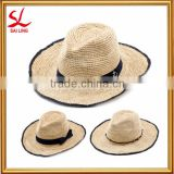 Women's Crochet Raffia Fedora Hat Foldable Natural Straw Hat Wide Brim Beach Sun Cap