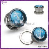 Full 304L Stainless Steel Boat Anchors Decorated RoyalBlue Background Ear Tunnel Jewelry