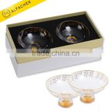 Set of 2 Round Crystal Decorative Bowl for Fruit Candy Dinnerware Indian Wedding Return Gift Bowl