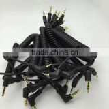 10 Units in one bunch matt PU spiral coiled cable audio aux 3.5mm stereo gold plated connector