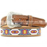 BASKETWEAVE EMBOSS WESTERN MEN BEADED INLAY LEATHER BELT