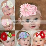 Wholesale baby headband infant pearl chiffon flower hairband children shabby flower headband kids photography props