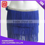 Cheap price short blue handmade beaded tassel belly dance skirt