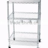 Utility Chrome Metal Wire Shelving Storage cart with 2 baskets and 1pc liner and 4 wheels