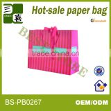 Pink color with butterfly ribbon printed gift paper shopping bag