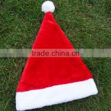 China factory red custom machine sewing fabric Xmas cap wool felt Christmas ideas hat with pointed white pompon for festival
