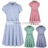 wholesale bulk printed fitted Girls School Gingham Dress colours kids primary high school uniforms design with pictures