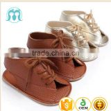 2017 Fancy designs baby sandal footwear wholesale baby shoes Light Gold casual beach baby girls shoe