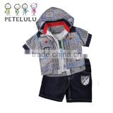 Petelulu Custom Newest Design Denim Coat Short Sleeve Hoodie and Jean, kids clothing wholesale