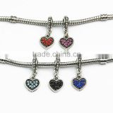 Valentine Heart Love Clip Pendant Dangle Bead For European Charm Bracelet or Necklace Costume Jewelry