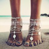 2017 Fashion Shell Silver Chains Body Jewelry Anklet With Toe Ring