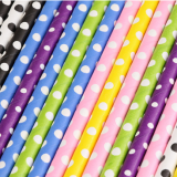 Polka Dot Paper Straws - Eco Friendly Biodegradable Straws