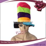 adult rainbow color tall bucket party crazy hats