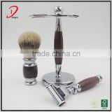 High quality silvertip badger hair shaving brush shaving stand and razor metal shaving brush set