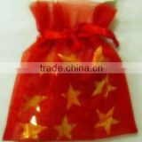 Red with Star Printed Transparent Organdy Gift Bag/Ribbon Gift Bags/packaging Christmas gift