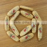 OB018 Wholesale Hand Carved Flower picture Tube Bone spacer beads