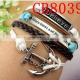 CB8039 European vintage jewelry hot selling believe with anchor charms handmade weave bracelet