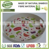serving colorful printed with handle ear bamboo fibre eco-friendly drinking tray, bamboo beauty tray for party