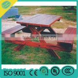 Wood with Steel Frame Garden Park Leisure Bench with Back and Armrest !