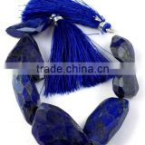 "7 Pcs 1 Strand Natural Lapis Lazuli Faceted Drilled Nuggets,Handmade Rare Gemstone Tumble Beads,7"" Long Jewelry Making"