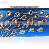 12033 royal popular ladies clutch bag, beautiful design women colorful crystal clutch bag