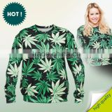 Fashion winter spring casual women Sweatshirt 3d print tops unisex clothing fullprint weed marijuana crew neck custom oversized