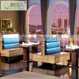 High Quality Double Designer Side Leather Upholstery Rattan Restaurant Booth Seating Sofa