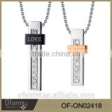 Stainless steel pendant with diamond love gold couple jewelry necklace designs in 10 grams