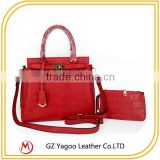 Classical croco ladies handbag set with outside wallet                                                                         Quality Choice