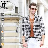 2016 New Fashion One Button Slim Fit Middle short Sleeve Design Jacket mens Blazer in Man Suit