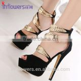 Golden strap fashion flat summer ethnic high heel sandals