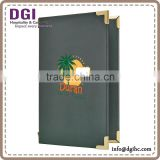 durable leather menu book for restaurant / genuine leather folders / metal corners menu cover
