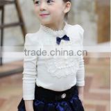 2016 children princess girl lace bow long sleeves basics t-shirt