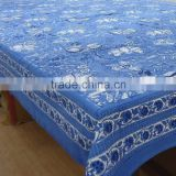 Anarkali Blue Cotton Hand Block Printed tablecloth