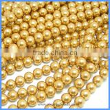 Wholesale High Quality Imitation Faux 8mm Gold Glass Pearl Beads Loose Strands For Wedding Decorations GPB-8mm021