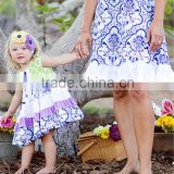 2016 fashion brand white color floral print summer dress baby girl sleeveless ruffle dress