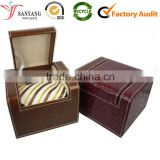 High quality custom OEM logo leather neck tie box for sale bow tie gift package box