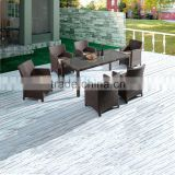 Foshan factory 8 seater flat rattan dining table set furniture garden