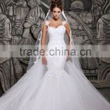 (MY2014) MARRY YOU 2015 Alibaba Custom Made Sexy Lace Beaded Mermaid Wedding Dress With Straps