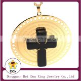 China Manufacturer Supply Stainless Steel Religious Spanish Lord's Prayer Bible Scripture Cross Big Pendant With Black Cross
