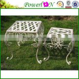 Discounted Classic Antique Design S/2 Wrought Iron Plant Stand Garden Ornament For Decking Patio I26M TS05 G00 X00 PL08-5064