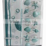 sea and fishes,hot selling 1pc peva shower curtain matching with 12pcs decorative resin bath shower curtain hooks