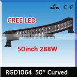 288w cree curved 50 inch led light bar waterproof ip68 RGD1064 curved off road led light bar